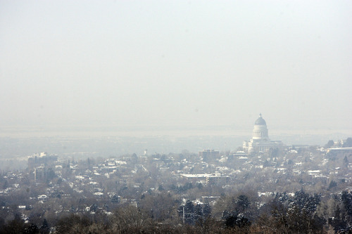 Francisco Kjolseth     The Salt Lake Tribune The air quality in the Salt Lake Valley begins to deteriorate as the winter inversion sets in, obscuring the views to the west of the Utah State Capitol on Wednesday, January 2, 2013.