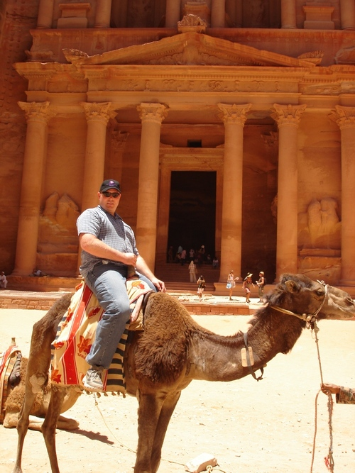A career in the military and as a civilian contractor has allowed Salt Lake City resident Patrick Kelly to see the world in a variety of different ways. Here he at the ruins in Petra, Jordan. Courtesy Pat Kelly