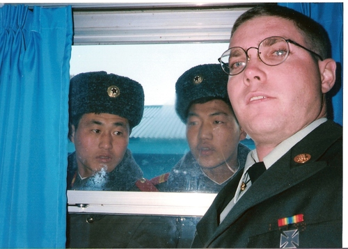 North Korean soldiers stare at a young Patrick Kelly, a Salt Lake City resident, on his tour of duty in South Korea. Courtesy Pat Kelly