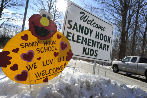 A sign welcomes Sandy Hook Elementary school children on their first day of classes near the former Chalk School in Monroe, Conn., Thursday, Jan. 3, 2013. Classes resumed Thursday for the students of the school where a gunman last month burst in and killed 20 children and six adults before killing himself. It was the second largest school shooting in the U.S. history. With their school still being treated as a crime scene, the more than 400 students of Sandy Hook Elementary School attended classes at the neighboring town's Chalk School. AP Photo/Jessica Hill)