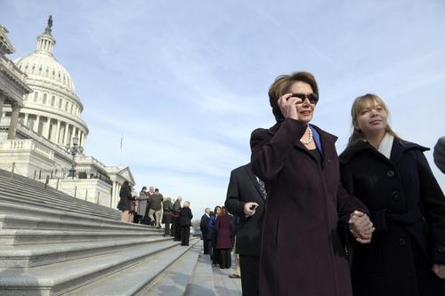 House Minority Leader Nancy Pelosi, D-Ca., walks on Capitol Hill in Washington, Thursday, Jan. 3, 2013. (AP Photo/Cliff Owen)