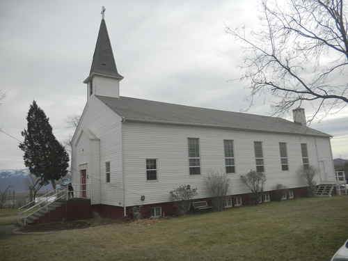 Tom Wharton  |  The Salt Lake Tribune The historic Methodist Church in Copperton is one of three churches in the small mining town.