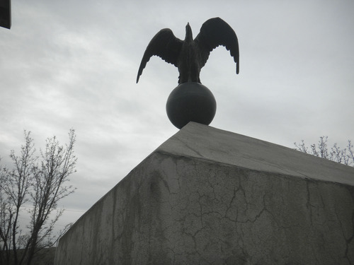 Tom Wharton  |  The Salt Lake Tribune A bronze eagle sits on top of a war monument in the historic Copperton park.