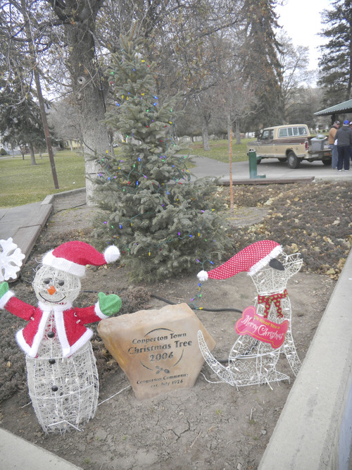 Tom Wharton  |  The Salt Lake Tribune The humble Copperton holiday tree is one of many fine Christmas displays in the little town up Bingham Canyon.
