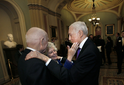 Scott Sommerdorf   |  The Salt Lake Tribune Former astronaut and Sen. John Glenn, left, and his wife, Annie, meet with Sen. Orrin Hatch, R-Utah, Thursday, January 3, 2013. Hatch met the Glenns before the ceremonial swearing-in ceremony in the Old Senate Chamber in Washington, D.C.