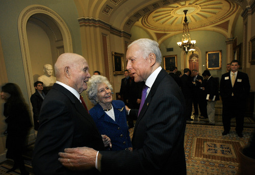 Scott Sommerdorf   |  The Salt Lake Tribune Sen. Orrin Hatch, R-Utah, right, meets with former astronaut and former Sen. John Glenn, D-Ohio, and his wife, Annie, prior to Hatch's ceremonial swearing-in, Thursday, January 3, 2013.
