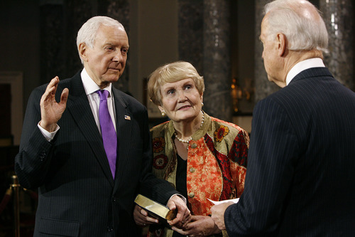 Scott Sommerdorf   |  The Salt Lake Tribune Sen. Orrin Hatch, R-Utah, is sworn in by Vice President Joe Biden in a ceremonial swearing-in in the Old Senate Chamber, Thursday, Jan. 3, 2013. Alongside Hatch is his wife, Elaine.