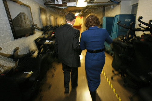 Scott Sommerdorf  |  The Salt Lake Tribune Congressman-elect Chris Stewart, R-Utah,and his wife, Evie, walk through the labyrinth of hallways of the Capitol building on their way to Stewart's swearing-in, Thursday, Jan. 3, 2013.