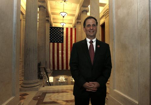 Scott Sommerdorf  |  The Salt Lake Tribune Congressman Chris Stewart, R-Utah, poses near the veterans wing of the Capitol Rotunda, Thursday, January 3, 2013.