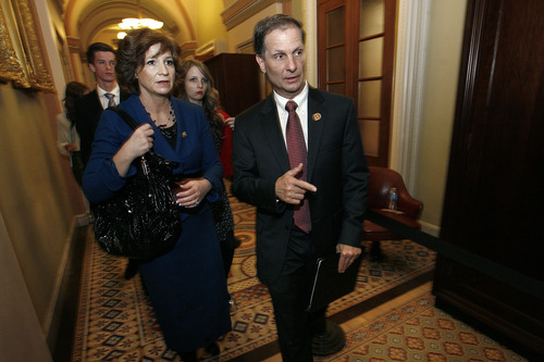 Scott Sommerdorf  |  The Salt Lake Tribune Congressman-elect Chris Stewart, R-Utah, along with his wife, Evie, and Stewart's family walk through the hallways of the Capitol building on their way to Stewart's swearing-in, Thursday, Jan. 3, 2013.