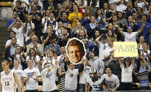 Chris Detrick  |  The Salt Lake Tribune BYU fans cheer during the second half of the game at  Thursday January 3, 2013.