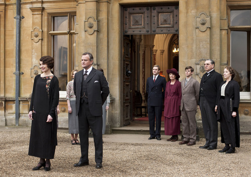 From left to right: Elizabeth McGovern as Lady Grantham, Hugh Bonneville as Lord Grantham, Dan Stevens as Matthew Crawley, Penelope Wilton as Isobel Crawley, Allen Leech as Tom Branson, Jim Carter as Mr. Carson, and Phyllis Logan as Mrs. Hughes. Credit: Courtesy of Carnival Film & Television Limited 2012 for MASTERPIECE