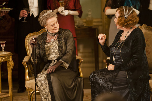 The mothers-in-law: Maggie Smith as Lady Violet Crawley and Shirley MacLaine as Martha Levinson. Credit: Courtesy of Carnival Film & Television Limited 2012 for MASTERPIECE