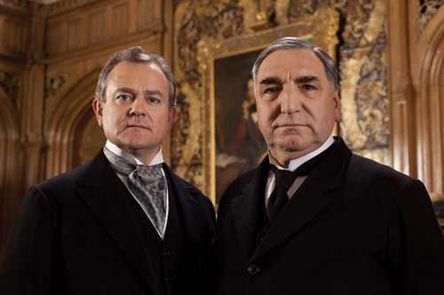 Hugh Bonneville as Lord Grantham and Jim Carter as Mr. Carson. Credit: Courtesy of Carnival Film & Television Limited 2012 for MASTERPIECE