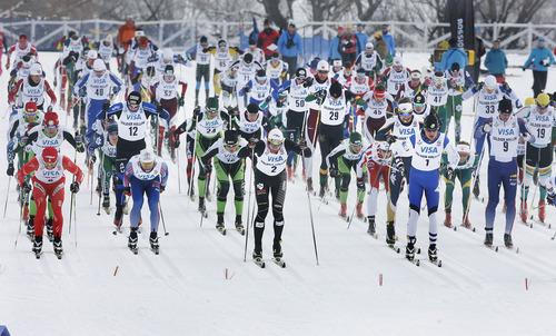 Scott Sommerdorf   |  The Salt Lake Tribune The mass start of the Senior Men's U.S. Championship 30k at Soldier Hollow, Sunday, January 6, 2013.
