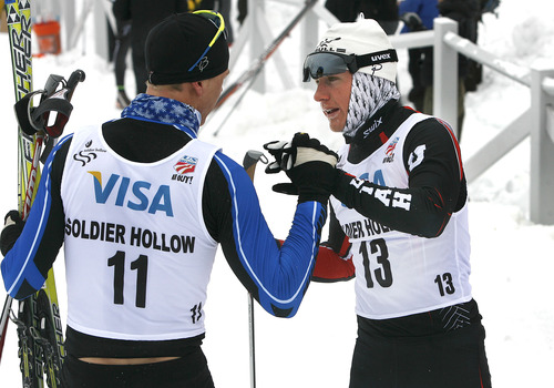 Scott Sommerdorf   |  The Salt Lake Tribune Miles Havlick, #13, right, of the University of Utah skiing team, congratulates Erik Bjornsen, #11, who finished second in the Senior Men's U.S. Championship 30k at Soldier Hollow, Sunday, January 6, 2013. Havlick finished 8th in the event.