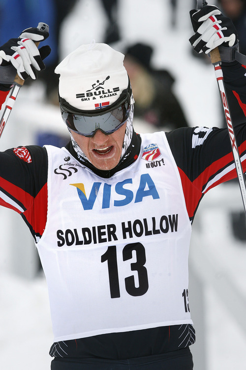 Scott Sommerdorf   |  The Salt Lake Tribune Miles Havlick, of the University of Utah skiing team, reacts as he finishes 8th in the Senior Men's U.S. Championship 30k at Soldier Hollow, Sunday, January 6, 2013.