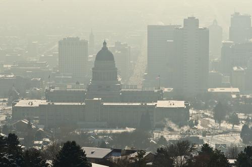 Chris Detrick  |  The Salt Lake Tribune The inversion as seen from Vista Mound near Ensign Peak on Wednesday, Jan. 2, 2013.