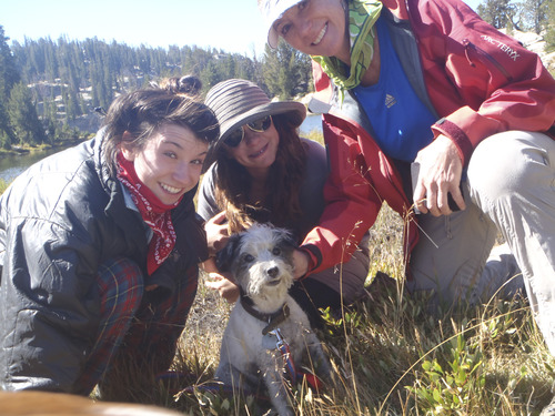 From left, Shannon, Lacee and Teri Mallard with their pet Jack Russell terrier Scout. The family believes a coyote snatched Scout on a trail near Ensign Peak on Friday morning. Courtesy image