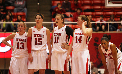 Kim Raff | The Salt Lake Tribune University of Utah players react to trailing Stanford in the final minutes of the second half at the Huntsman Center in Salt Lake City on January 6, 2013. Stanford went on to win the game 70-56.