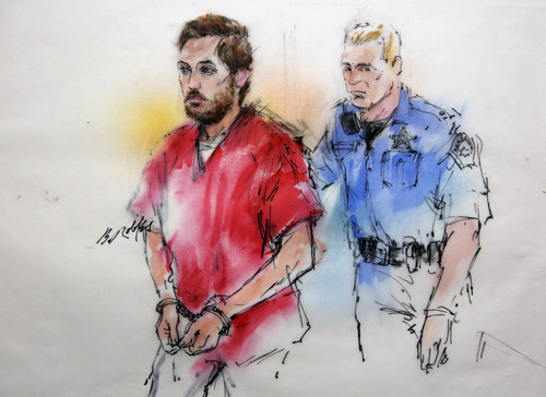 This courtroom sketch shows James Holmes being escorted by a deputy as he arrives at preliminary hearing in district court in Centennial, Colo., on Monday, Jan. 7, 2013. Investigators say Holmes opened fire during the midnight showing of the latest Batman movie on July 20, killing 12 people and wounding dozens. (AP Photo/Bill Robles, Pool)