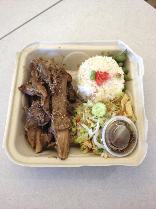 Tribune file photo The Wednesday special at Out of the Box Cafe is the luau ribs with crispy Asian salad and rice.