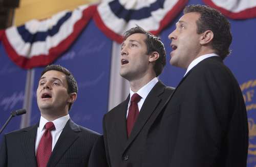Steve Griffin | The Salt Lake Tribune   Bradley, Daniel and Nathan Herbert sing the National Anthem during inauguration ceremony for their father, Gary Herbert, as Utah's 17th Governor at the Utah State Capitol in Salt Lake City, Utah Monday January 7, 2013.
