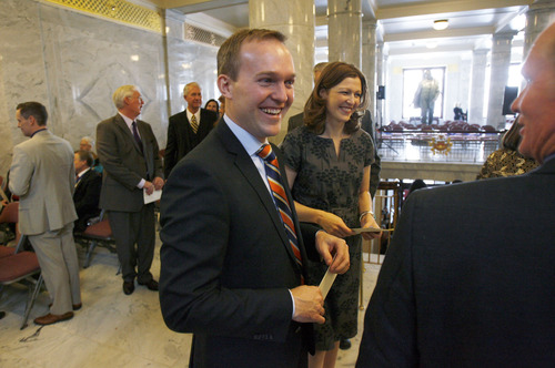 Francisco Kjolseth  |  The Salt Lake Tribune Salt Lake County-Elect Ben McAdams, alongside his wife Julie, attends the inauguration ceremony for Gov. Gary Herbert at the Utah State Capitol on Monday, January 7, 2013, after himself being sworn in earlier in the morning.