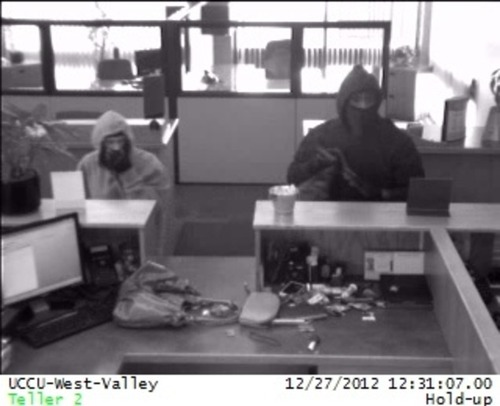 """West Valley City police think these two credit union robbers may be the so-called """"Honey Bun Bandits"""" also wanted in a robbery of a Zions Bank branch in Salt Lake City. (West Valley City police photo)"""