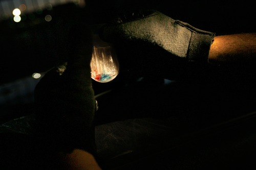 Tribune file photo An officer conducts a field test to determine if the substance found on a suspect, who was arrested on suspicion on drug dealing, was actually crack-cocaine. If the liquid turns blue, it is crack-cocaine.