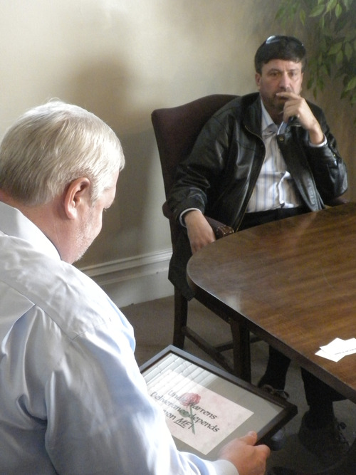 Attorney Roger Hoole and his client Wallace Jeffs discuss the United Effort Plan trust, which controls the assets of the FLDS church. The state is working to distribute those assets and Jeffs -- who was ousted from the church in 2010 -- hopes to get one of four properties he worked on while still a member. Courtesy image
