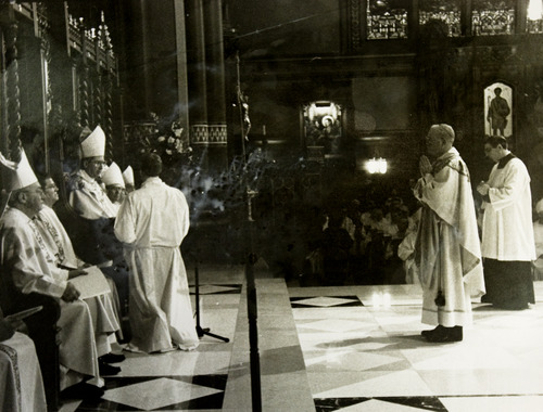 courtesy The 1995 ordination of George H. Niederauer (right) as bishop with Cardinal William Levada (left) and Cardinal Roger Mahony (center) at the Cathedral of the Madeleine in Salt Lake City.
