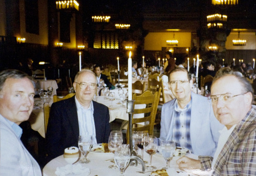 Courtesy photo From left: Bishop Tod Brown, Catholic Archbishop George Niederauer, Cardinal Roger Mahony and Cardinal William Levada during a 1996 trip to Fish Camp, Calif,. where the four friends met each summer to unwind. They neither fished nor camped, but talked of politics, music and the church.