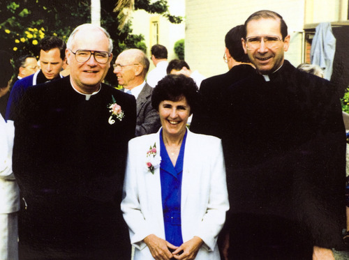 courtesy (left) Catholic Archbishop George Niederauer, (middle) Sister Bernadette Murphy, and (right) Cardinal Roger Mahony at Niederauer's going away party at St. John's Seminary in Camarillo, CA, as he was leaving to take the helm as bishop of the Salt Lake City diocese.