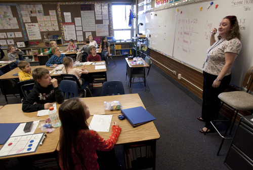 Steve Griffin | The Salt Lake Tribune Rebecca Elder teaches her fourth-grade class at McMillan Elementary School in Murray.