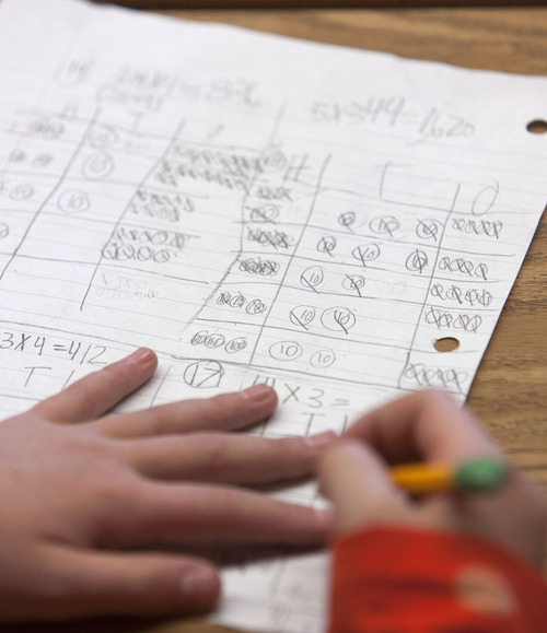 Steve Griffin | The Salt Lake Tribune   Students in Rebecca Elder's fourth-grade class work on math recently at McMillan Elementary School in Murray.
