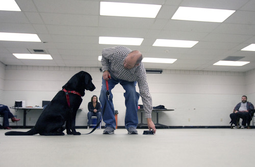 Kim Raff  |  The Salt Lake Tribune Canines With A Cause instructor Shaun Woodard works with Grizz during a class demonstration at Northwest Recreation Center in Salt Lake City on December 21, 2012. Canines With A Cause is a non-profit that trains veterans and their dogs.