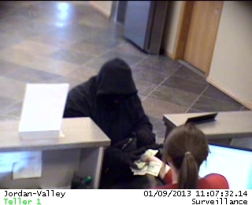 Surveillance images of a robbery of the Mountain America Credit Union located at 6761 South Redwood Road. Wednesday, Jan. 9, 2013.