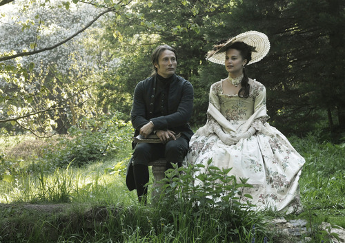 """This film image released by Magnolia Pictures shows Mads Mikkelsen, left, and Alicia Vikander in a scene from """"A Royal Affair."""" The film was nominated for an Academy Award for best foreign picture on Thursday, Jan. 10, 2013.  The 85th Academy Awards will air live on Sunday, Feb. 24, 2013 on ABC. (AP Photo/Magnolia Pictures)"""