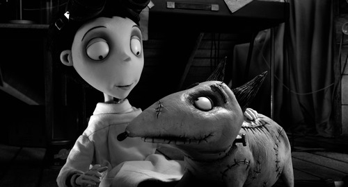 """FILE - This film image released by Disney shows Victor Frankenstein, voiced by Charlie Tahan, with Sparky, in a scene from """"Frankenweenie."""" The film was nominated for an Academy Award for best animated picture on Thursday, Jan. 10, 2013.  The 85th Academy Awards will air live on Sunday, Feb. 24, 2013 on ABC.   (AP Photo/Disney, file)"""