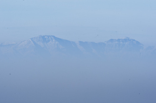Chris Detrick  |  The Salt Lake Tribune Stansbury Island through the inversion over the Salt Lake Valley as seen from the Utah Museum of Natural History Wednesday January 9, 2013.