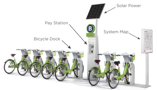 Courtesy Ben Bolte  An artistic rendering of what the GREENbike solar-powered stations will look like around downtown Salt Lake City.
