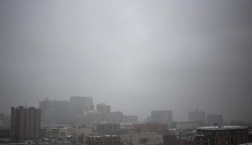Lennie Mahler  |  The Salt Lake Tribune A snowstorm blows in over the Salt Lake City skyline Thursday, Jan. 10, 2013.