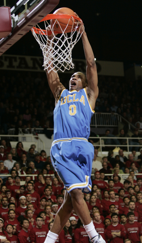 UCLA guard Russell Westbrook dunks the ball in the first half against Stanford during their NCAA basketball game in Stanford, Calif., Sunday, Jan. 28, 2007.  (AP Photo/Paul Sakuma)