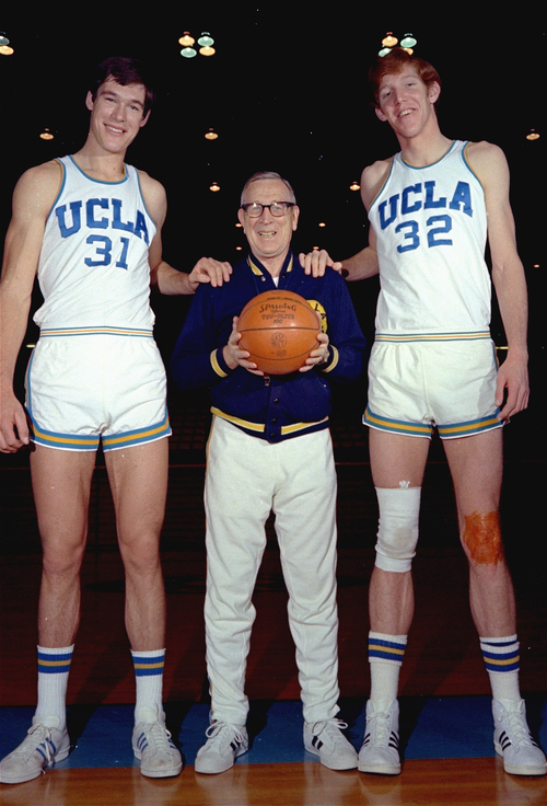 UCLA basketball coach John Wooden shown with Bill Walton (32) right, and Swen Nater (31), 1972. (AP Photo)