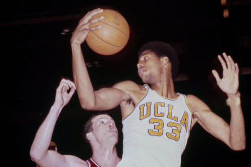 UCLA basketball star Kareem Abdul Jabbar, then known as Lew Alcindor, shown in 1968. (AP Photo)