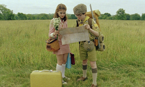 "Suzy (Kara Hayward, left) and Sam (Jared Gilman) rendezvous in Wes Anderson's ""Moonrise Kingdom."" Courtesy Niko Tavernise  