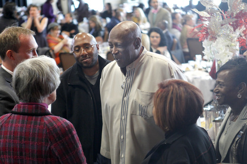 Al Hartmann  |  The Salt Lake Tribune Academy Award-winning actor Louis Gossett Jr. mingles at the Martin Luther King Jr. Human Rights Luncheon at the Utah Cultural Celebration Center on Friday1. In his speech, Gossett urged the crowd of about 200 to promote peace through education.