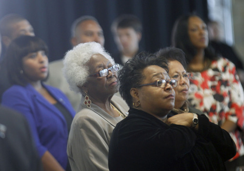 Al Hartmann  |  The Salt Lake Tribune Audience members listen to the national anthem at the Martin Luther King Jr. Human Rights Luncheon at the Utah Cultural Celebration Center on Friday.
