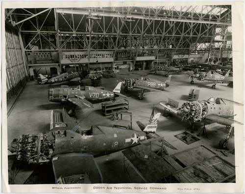 Salt Lake Tribune file photo  P-47s are built in a hangar at Hill Air Force Base in 1945.